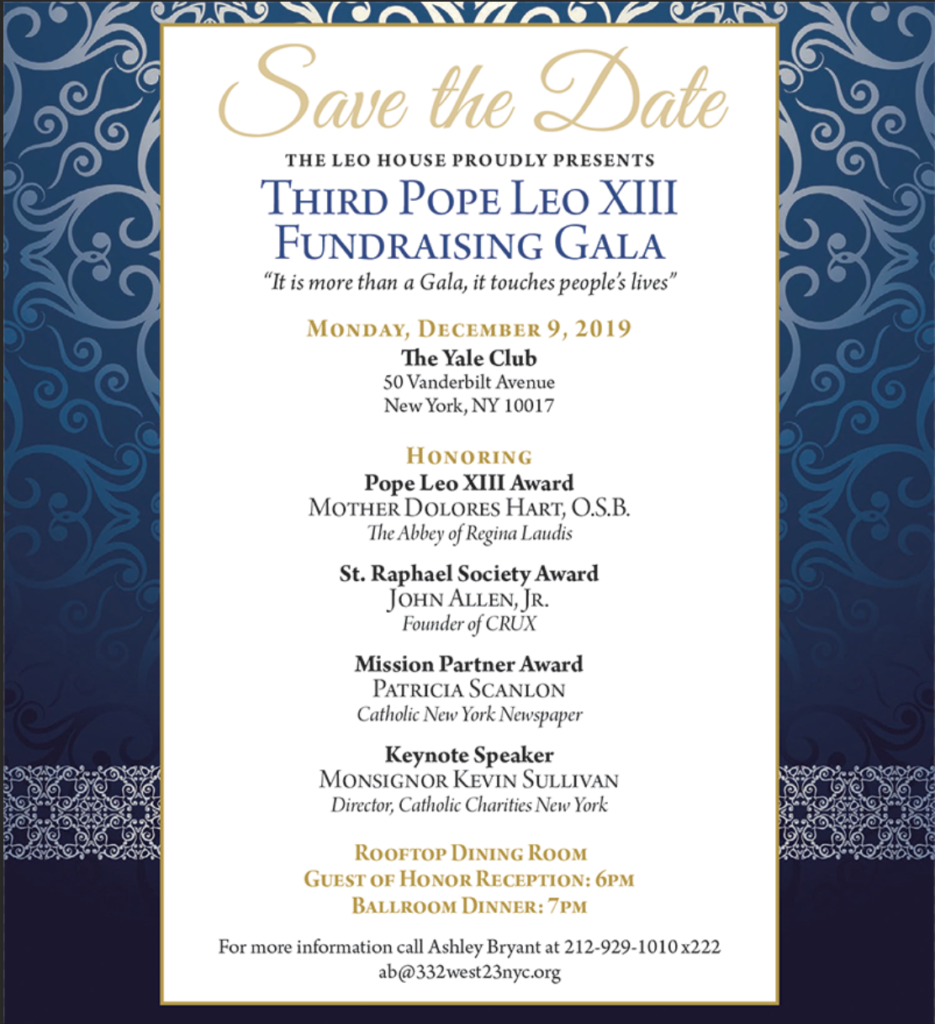 Pope Leo XIII Gala Save the Date 2019