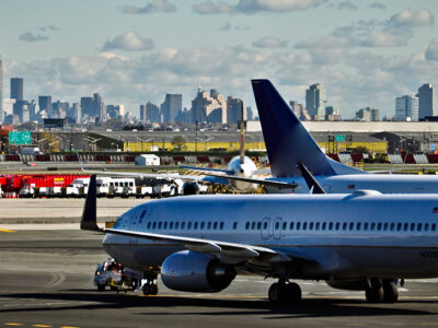 U.S. Travel Restrictions - Plane Prepares to Take Off Outside New York City